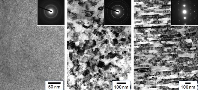 組織制御によって得られた高圧合成ダイヤモンド(左からアモルファス様ダイヤ,ナノ多結晶ダイヤ,層状ナノ多結晶ダイヤ)